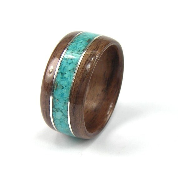 wood mens ring walnut with turquoise inlay with sterling. Black Bedroom Furniture Sets. Home Design Ideas
