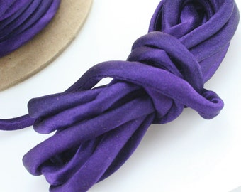 "1/4"" Silk Necklace Cord Purple Silk Satin Cord 3 yds Hand Dyed"