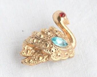 Vintage Swan Pin Rhinestone Brooch Small Swan Figural Pin Aqua