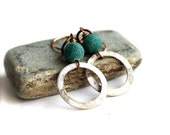 White Teal Patina Dangle Drop Earrings Bohemian Frosted Cracked Agate Hoop Stone Fashion Jewellery
