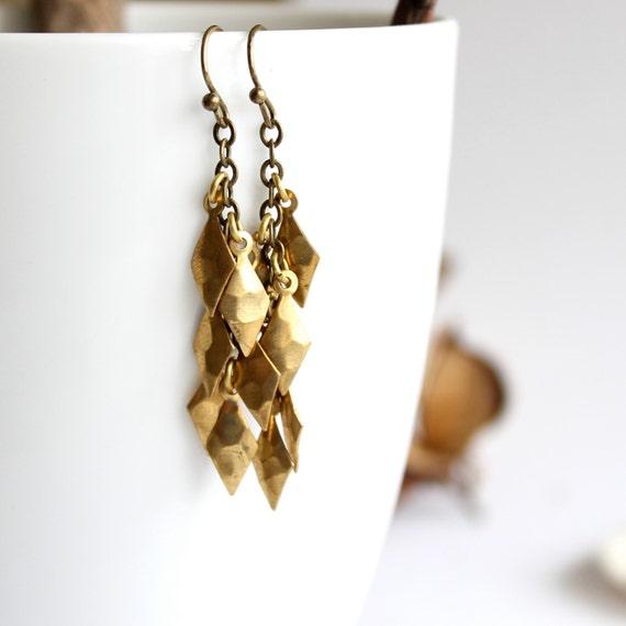 Brass Diamond Dangle Cluster Earrings Gold Faceted Drop Handmade Fashion Jewellery