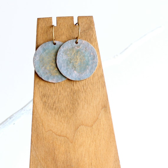 Grey Blue Nebula, Periwinkle Hammered Brass - Patina Earrings -Round Dangle Jewellery