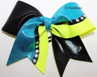 Cheerleading Bow Turquoise Black and Highlighter Yellow ALLSTAR