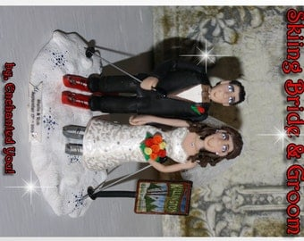 Skiing Bride & Groom, Personaized Wedding Cake Topper