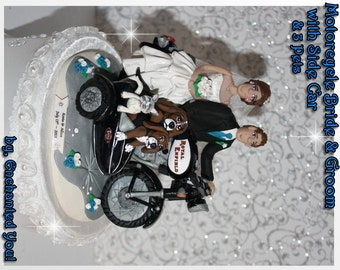 Motorcycle Wedding Cake Topper with Side Car and Pets