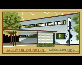 Walter Gropius - Lincoln, MA silkscreen print
