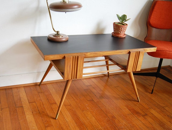 Mid Century Atomic Googie Coffee Table With Black Laminate Top