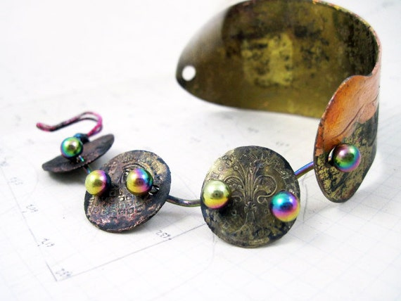 The Old Astronomer. Cosmic Gypsy Iridescent Bracelet Cuff with gold leaf, ancient coins and rainbow titanium.