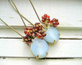 Lingonberry earrings, dainty dangles, ice blue cab and wine beaded earrings, brass kidney ear wires