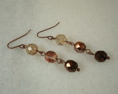 Modern Bronze Czech Glass with Copper Handmade Earrings, Alara