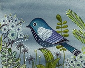 Blue Bird At Night print from Original Watercolor Painting / Modern Art / Rom Decor / Nursery Decor / Wall Art / Grey / Black / Bird Art