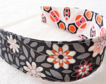 READY TO SHIP Orange grey reversible child headband,  cotton headband cloth toddler baby m2m Matilda Jane pink flowers girl party favor gift