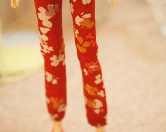 jiajiadoll-jacinth red orange flower pants fit momoko or blythe or misaki