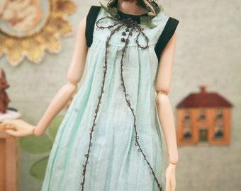 jiajiadoll-cream green bowknot long dress fit momoko or misaki or blythe