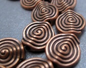 Antiqued Copper Coin Shaped Beads with Sprial Design- 11mm - 6 Beads