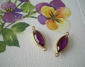 Pair VINTAGE Connectors Amethyst Purple GOLD PLATED