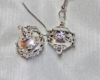 Large Earrings Silver Flattened Ball Encircled by Filigree