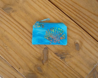 Zippered Pouch in a Seashell on Turquoise Batik Print - Credit Card Size