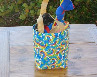 Dog Accessory Tote in a Tie Dye and Dog Bones and Paws Print