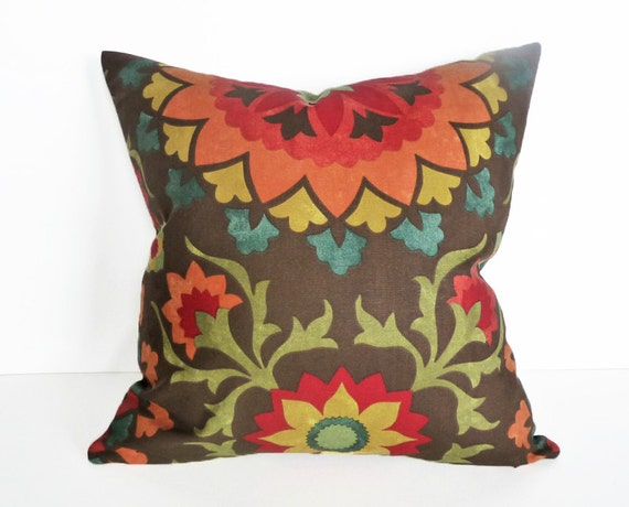 Spicy Suzani Pillow Colorful Medallion Throw by PillowThrowDecor