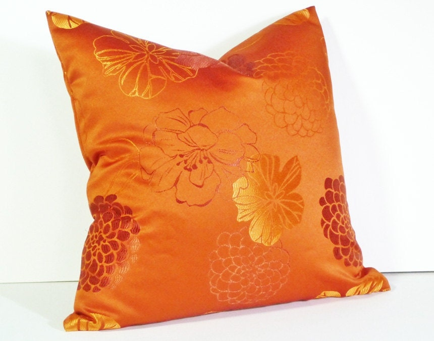 Orange Decorative Pillows Couch : Orange Throw Pillow Decorative Pillows Bright by PillowThrowDecor