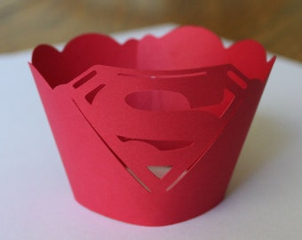 Superman Inspired Cupcake Wrappers -- Set of 12