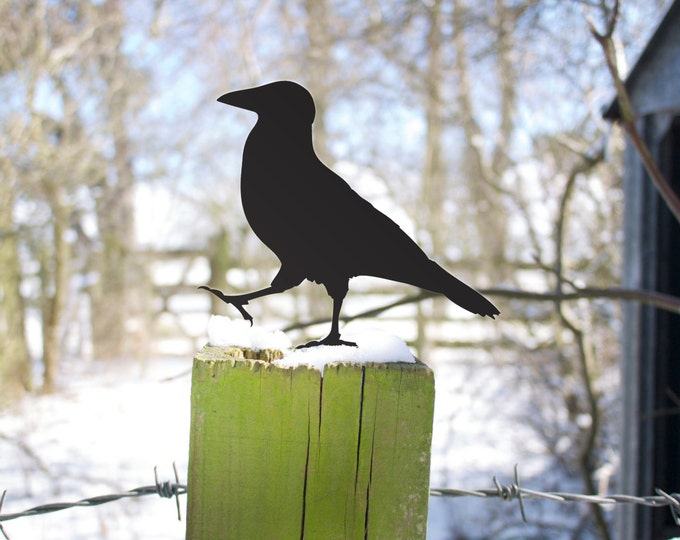Crow Garden Sculpture, Bird Lawn Ornament Yard Art