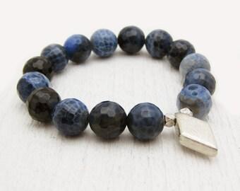 Blue Denim Agate Bead Bracelet with Diamond Brushed Sterling Silver / Deep Light Indigo Blue Jeans Stacking Bracelet/ Bohemian Earthy