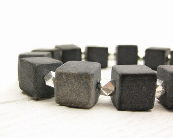 Blackstone Geometric Statement Bracelet / Sterling Silver Black Cube Bracelet / Square Dark Black Grey Gemstones / Modern Mod Rocker Unisex
