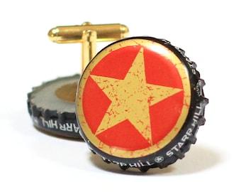 Red & Gold Star Beer Bottle Cap Cufflinks Cuff Links