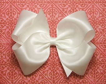 """White Satin Hair Bow, Girls Bows, 6 Inch Satin Bow, Satin Boutique Bow for Flower Girls Weddings, Womens Hair Bow for Girls 60 Colors 6"""" Bow"""