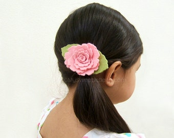 Felt Rose Hair Clip, Wild Rose Headband, Pink Wild Rose Hair Clip, Girls Felt Flower Headband Boho Baby Toddler Girls, 85 colors