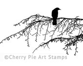 CROW/RaVEN on tree branch- CLiNG RuBBer STaMP by Cherry Pie Art Stamps