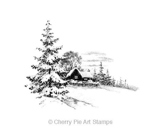 WiNTERSCAPE with SNOW- CLiNG Rubber STAMP by Cherry Pie Art Stamps