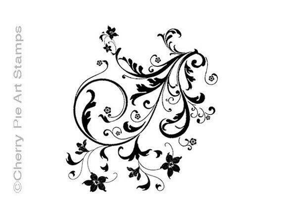 Baroque FLOURISHES - CLiNG RuBBer STaMP for acrylic block by Cherry Pie