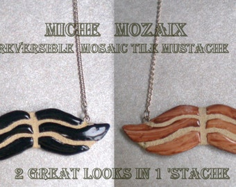 Mustache Necklace - Petite REVERSIBLE Black and Brown Mosaic Tile