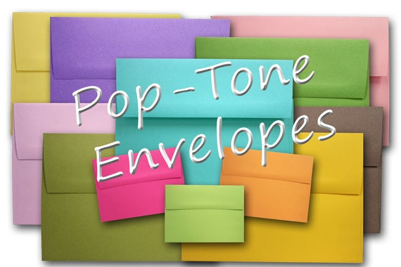 POP-TONE A9 Envelopes 25 pack - Black, green, red, or pink