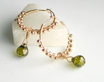 Gold Filled Hoop Earrings Cubic Zirconia Dangles, Handmade Ornate GF Hoops, Olive Green CZ Gems, Deluxe Gift For Her
