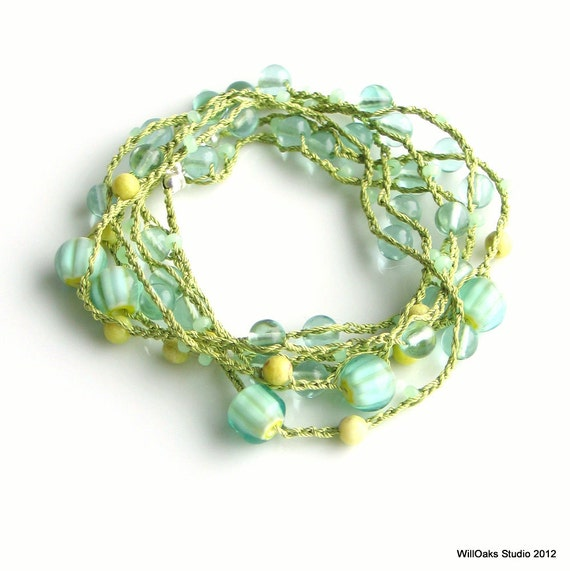 Crochet Beaded Necklace or Wrap Cuff, Aqua Spring Green Yellow Glass and Stone, Multistrand Silk Chain
