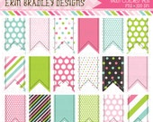 Colorful Clipart Ribbon Tags Instant Download Commercial Use Graphics Pink Green Blue Polka Dots Chevron Stripes