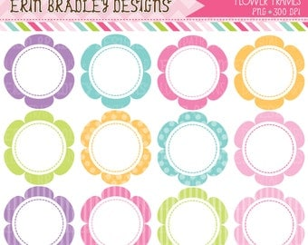 50% OFF SALE Flower Frames Clipart Graphics Commercial Use Scalloped Circles Clip Art