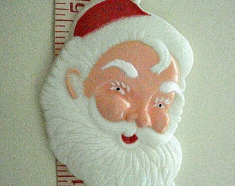 44 Santa Faces, Bakery Supply, Large size, Vintage Plastic, magnet crafting supply