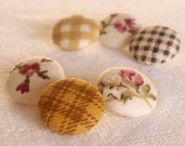 Fabric Covered Buttons - Cozy Brown - 6 Small Country Pink, Beige, Mustard and Green Flowers and Leaves Fabric Buttons