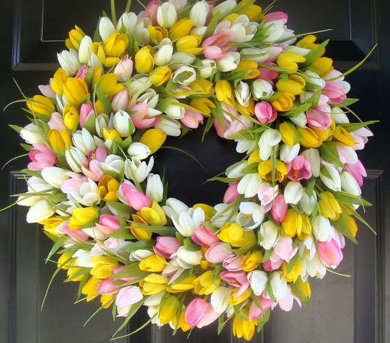Spring Wreath- Mother's Day Wreath- Spring Decoration- 20 inch Custom Tulip Wreath- Spring Wreath for Door  The ORIGINAL TULIP Wreath