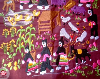 Hmong Fabric, Hmong textile, Lisu Fabric, hmong fabric, hill tribe, embroidered, sewn, redish-purple, red, purple, fabric for crafting