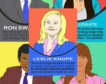 Parks and Recreation Character Prints (Set of 5)