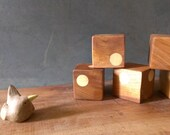 wood rattle block (set of 3) - brown cow rattle block- (eco-friendly baby/toddler gift set ) -  developmental first toy