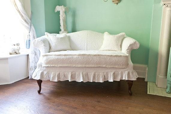 Shabby Chic Loveseat White Slipcover By VintageChicFurniture