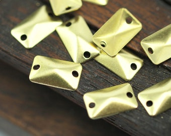 Raw Brass Rectangle, 100 Raw Brass Rectangle Connectors with 2 Holes, Findings (10x6mm)  A0547