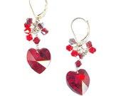 Crystal Heart Earrings Red AB